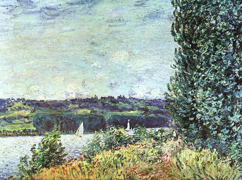 Banks of the Seine, Wind Blowing - Alfred Sisley