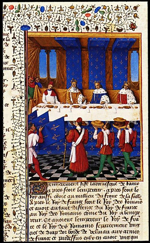 Banquet Given by Charles V (1338-80) in Hhonour of His Uncle Emperor Charles IV (1316-78) in 1378 - Jean Fouquet