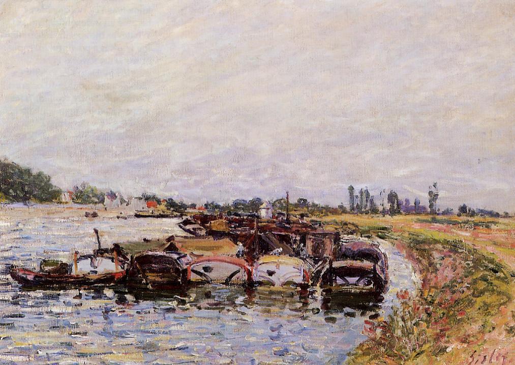 Barge Garage at Saint Mammes - Alfred Sisley