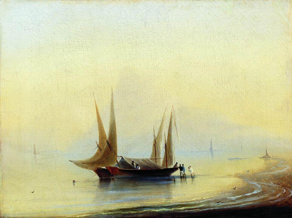 Barge in the sea shore - Ivan Aivazovsky