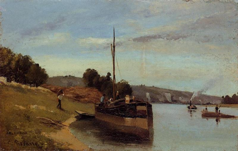 Barges at Le Roche Guyon - Camille Pissarro