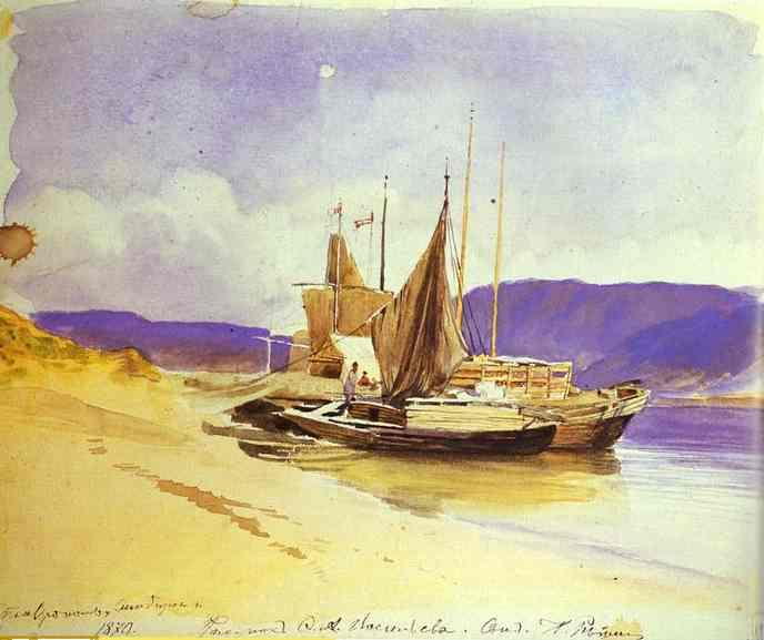 Barges near the Bank - Fyodor Vasilyev