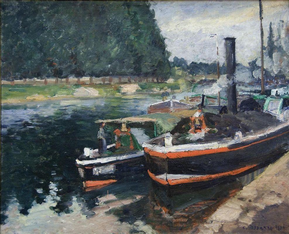 Barges on Pontoise - Camille Pissarro