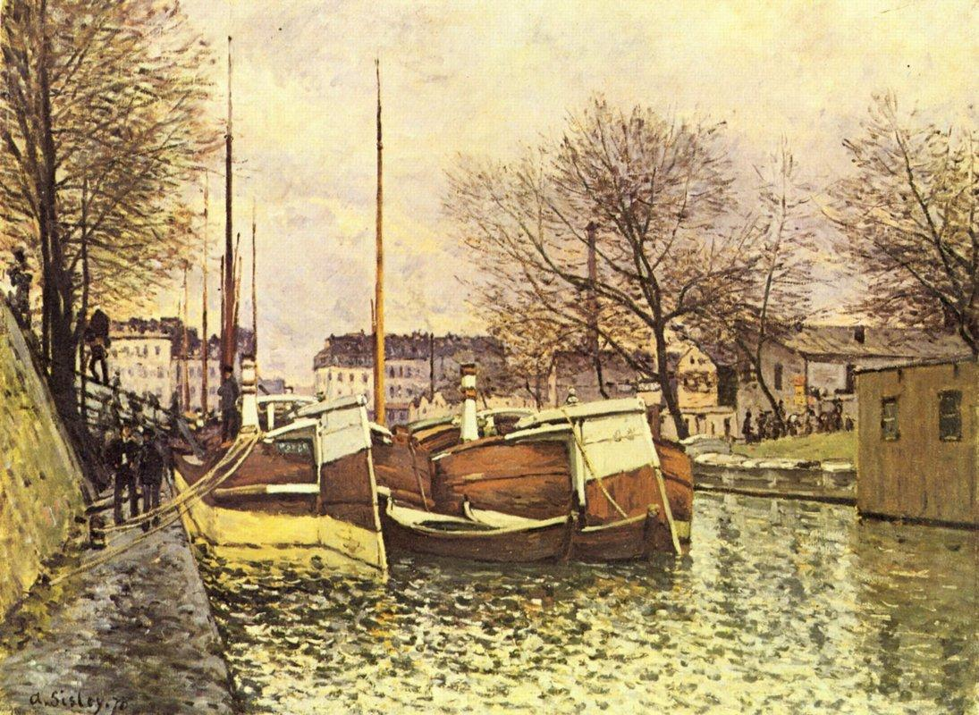 Barges on the Canal Saint Martin in Paris - Alfred Sisley
