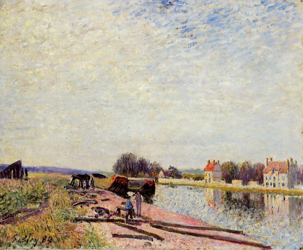 Barges on the Loing, Saint Mammes - Alfred Sisley