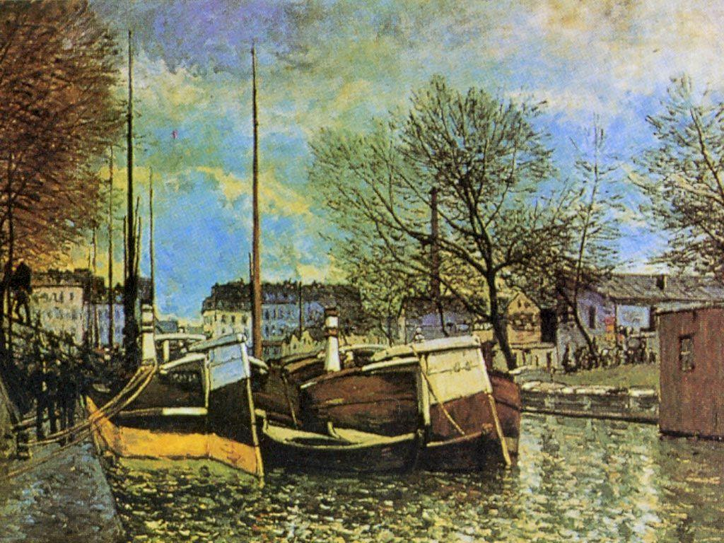 Barges on the Saint Martin Canal - Alfred Sisley