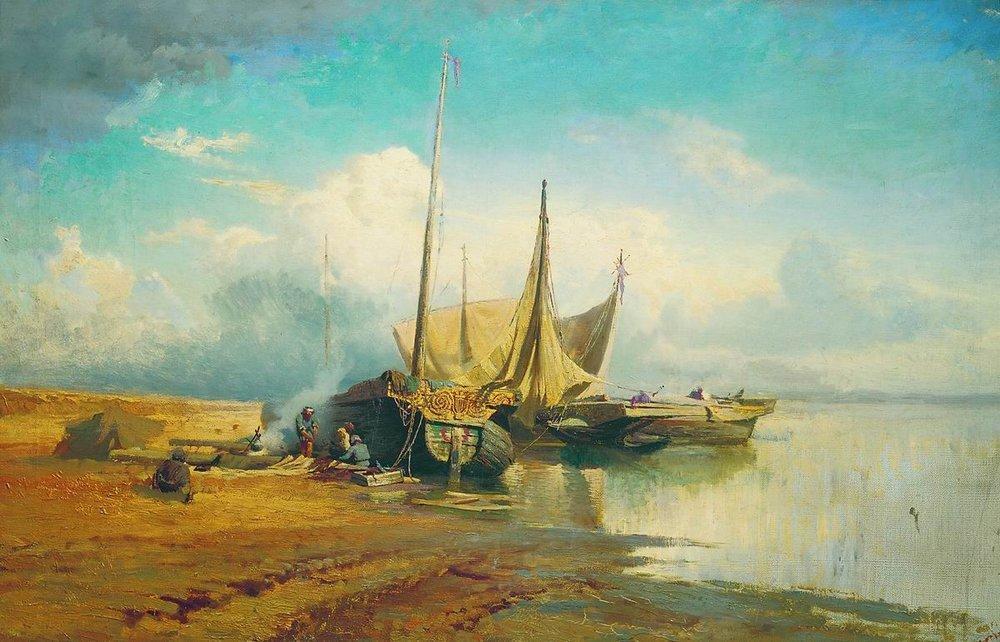 Barges on Volga - Fyodor Vasilyev