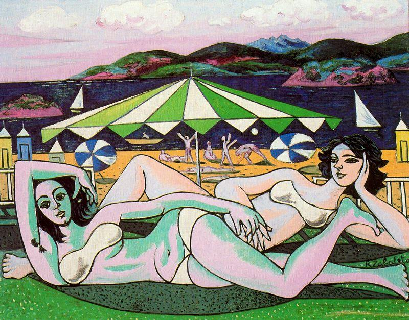 Bathers on the beach under umbrella - Rafael Zabaleta