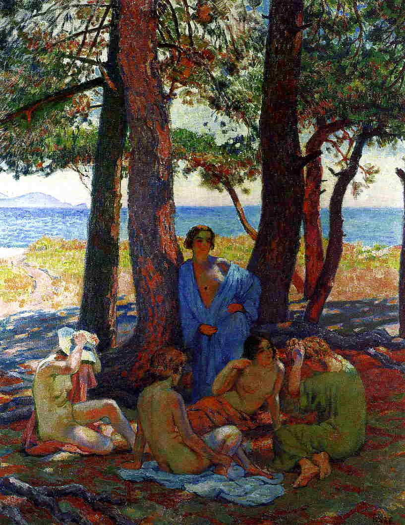 Bathers under the Pines by the Sea - Theo van Rysselberghe