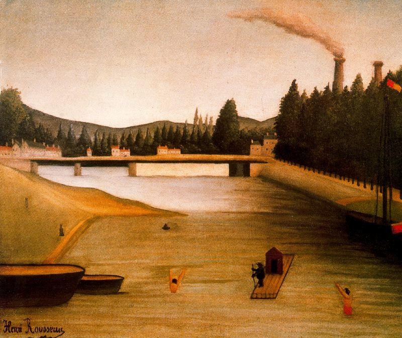 Bathing at Alfortville - Henri Rousseau