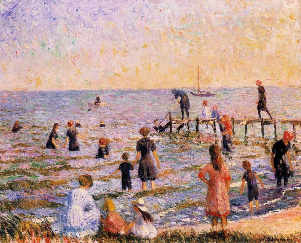 Bathing at Bellport - William James Glackens