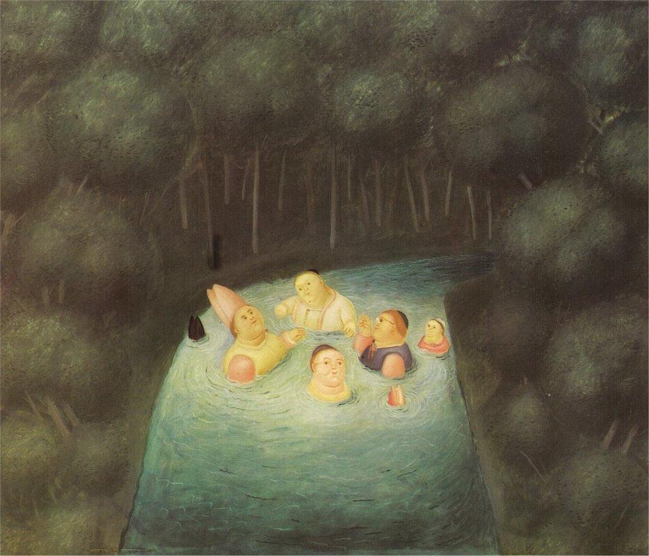 Bathing Bishops in a River - Fernando Botero