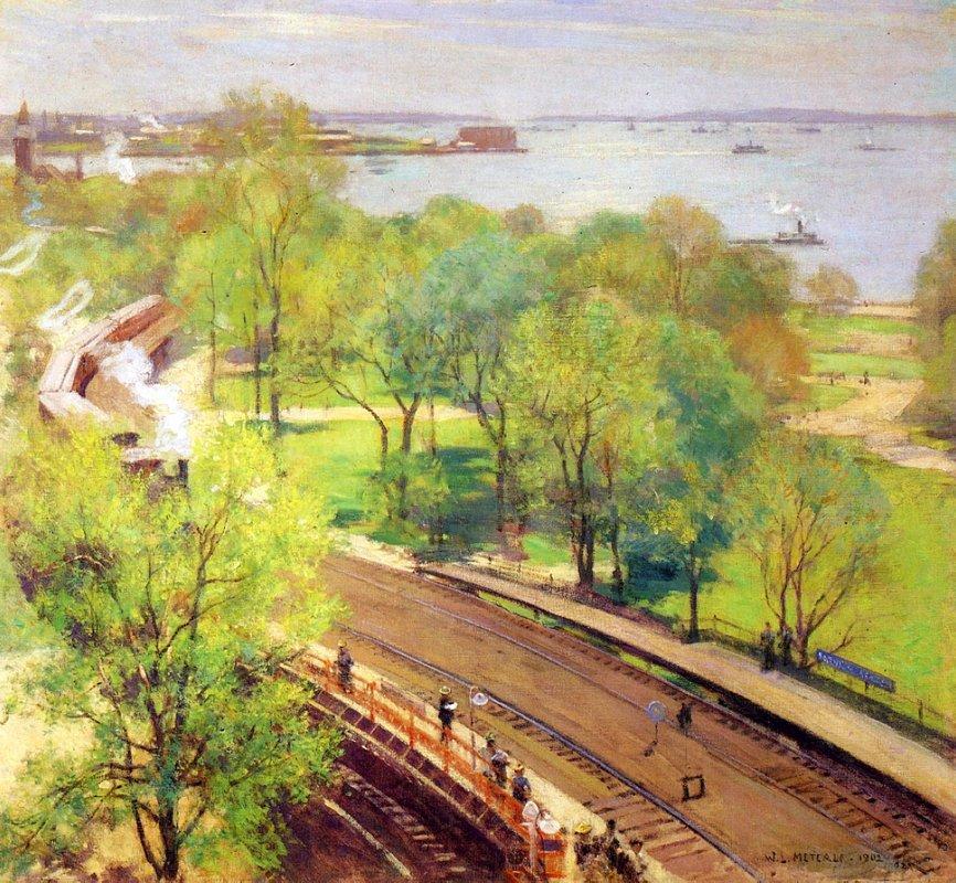 Battery Park, Spring - Willard Metcalf