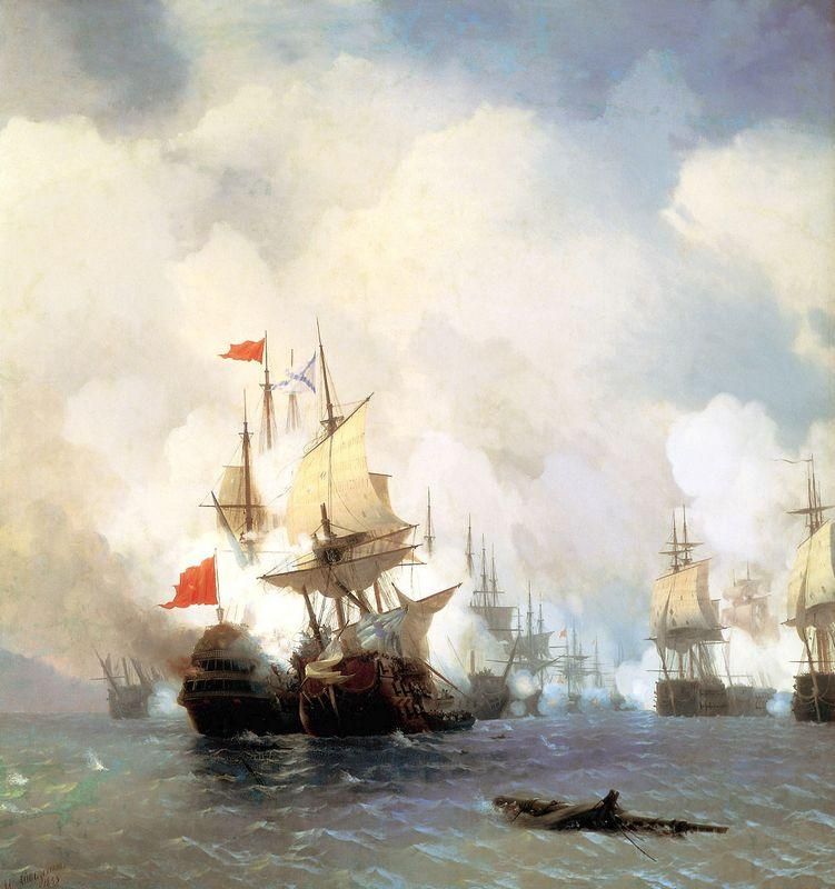 Battle of Chios on 24 June, 1770 - Ivan Aivazovsky