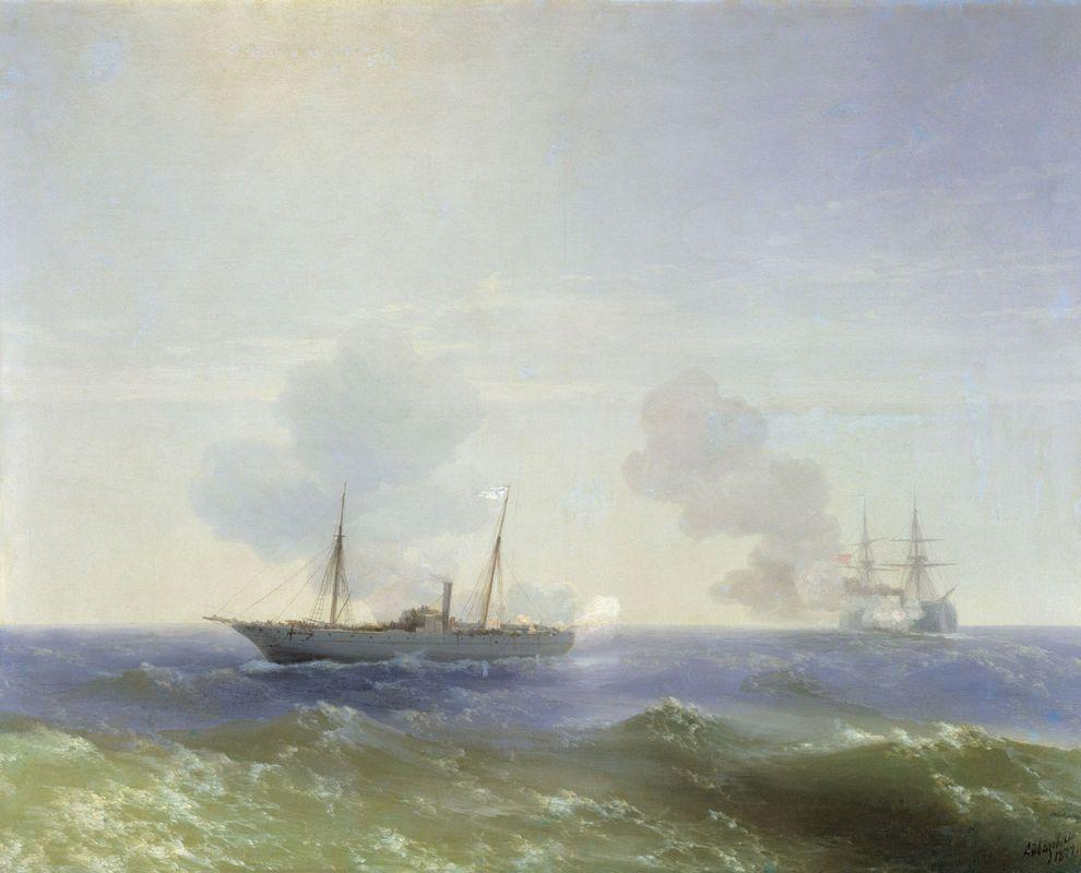 Battle of steamship Vesta and Turkish ironclad - Ivan Aivazovsky