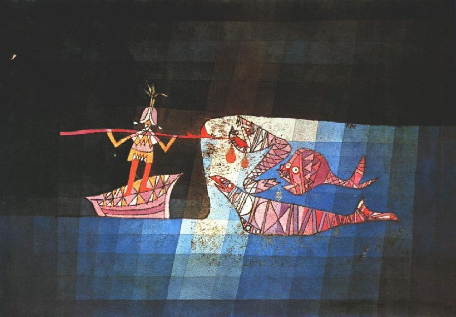 Battle scene from the comic fantastic opera 'The Seafarer' - Paul Klee