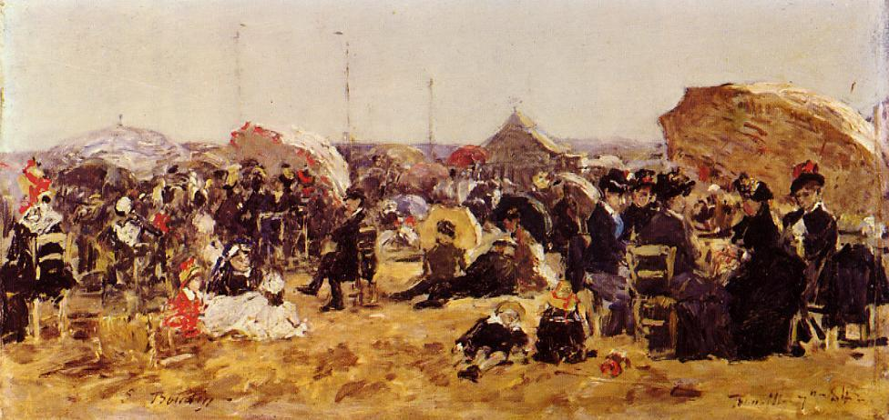 Beach At Trouville - Constant Troyon