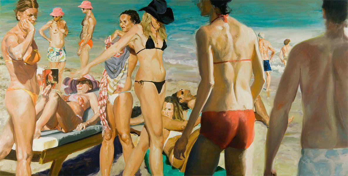 Beach Scene with Pink Hat - Eric Fischl