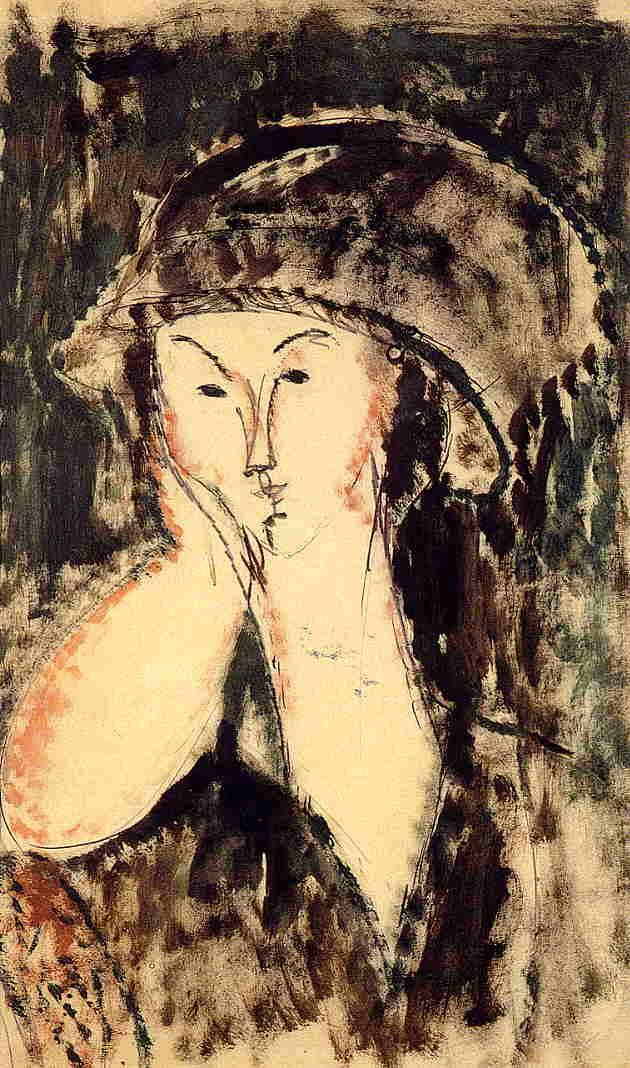 Beatrice Hastings Leaning on Her Elbow - Amedeo Modigliani