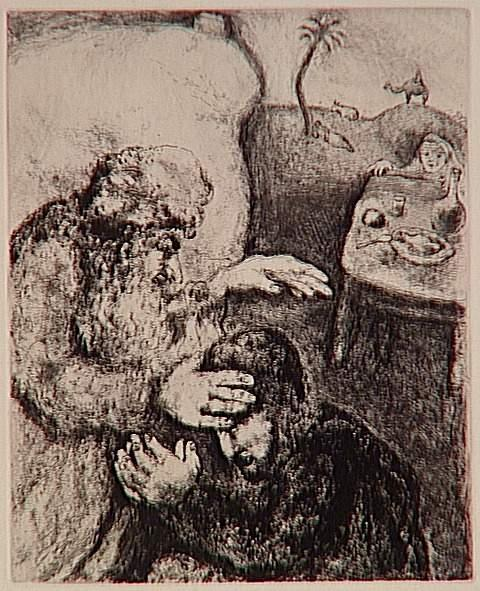 Before the death, blind Isaac bless his second son Jacob, Rebecca, told him to make it for his elder son, Esau (Genesis, XXVII, 26-29) - Marc Chagall