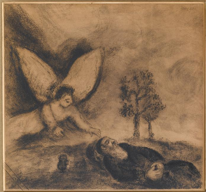 Being asleep in the desert where he had retired to wait for the death, Elijah has been  awakened and cheered by an angel (I Kings, XIX, 5-8) - Marc Chagall