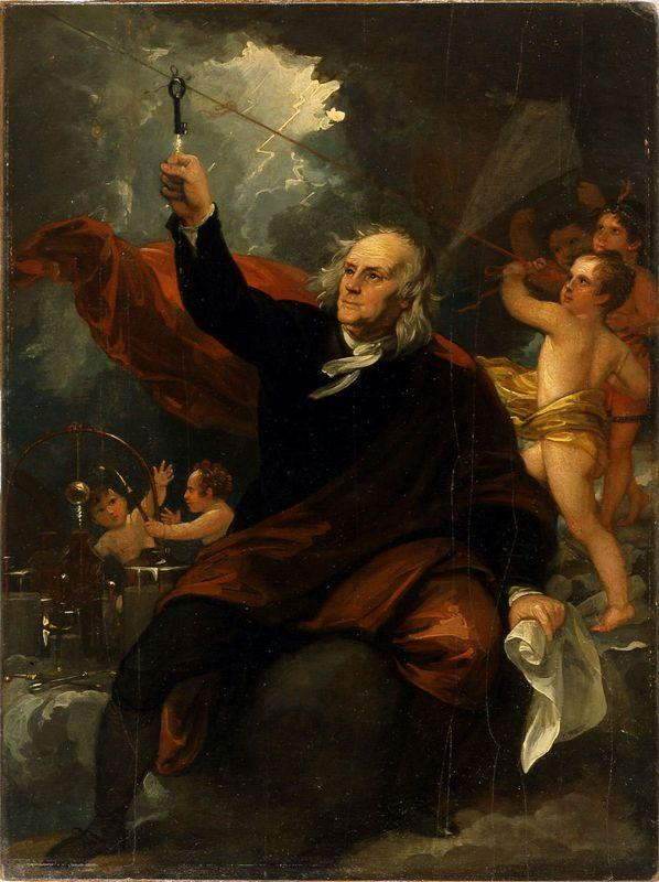 Benjamin Franklin Drawing Electricity from the Sky - Benjamin West