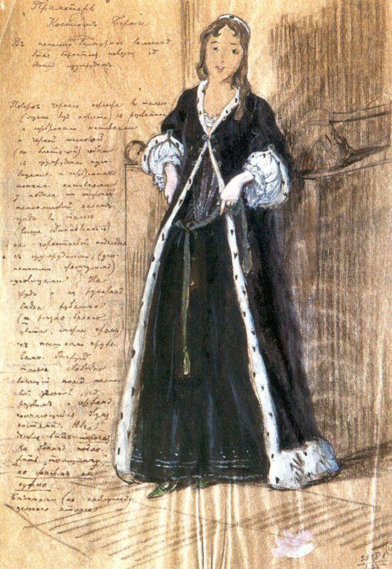 Bertha. Costume design for Vera Komissarzhevskaya. - Alexandre Benois
