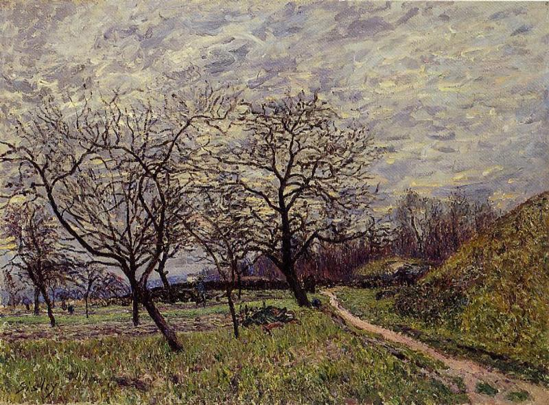 Between Veneux and By December Morning - Alfred Sisley