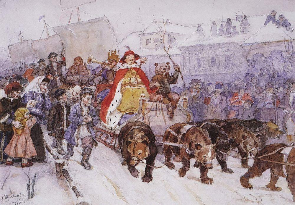 Big masquerade in 1772 on the streets of Moscow with the participation of Peter I and princer I. F. Romodanovsky - Vasily Surikov