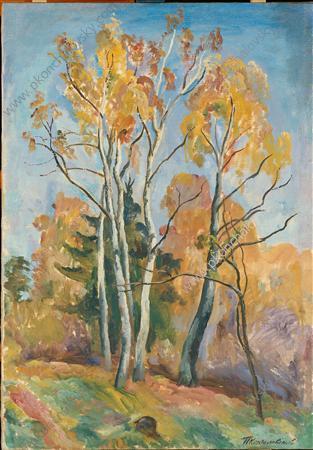 Birches in autumn - Pyotr Konchalovsky