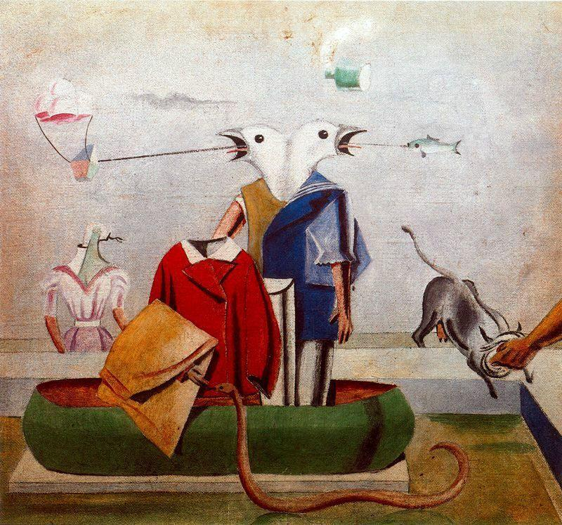 Birds also Birds, Fish Snake and Scarecrow - Max Ernst