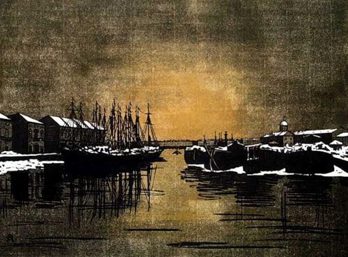Biron Palace and barges - Anna Ostroumova-Lebedeva