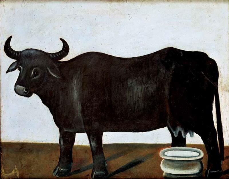 Black buffalo on a white background (part of diptych) - Niko Pirosmani