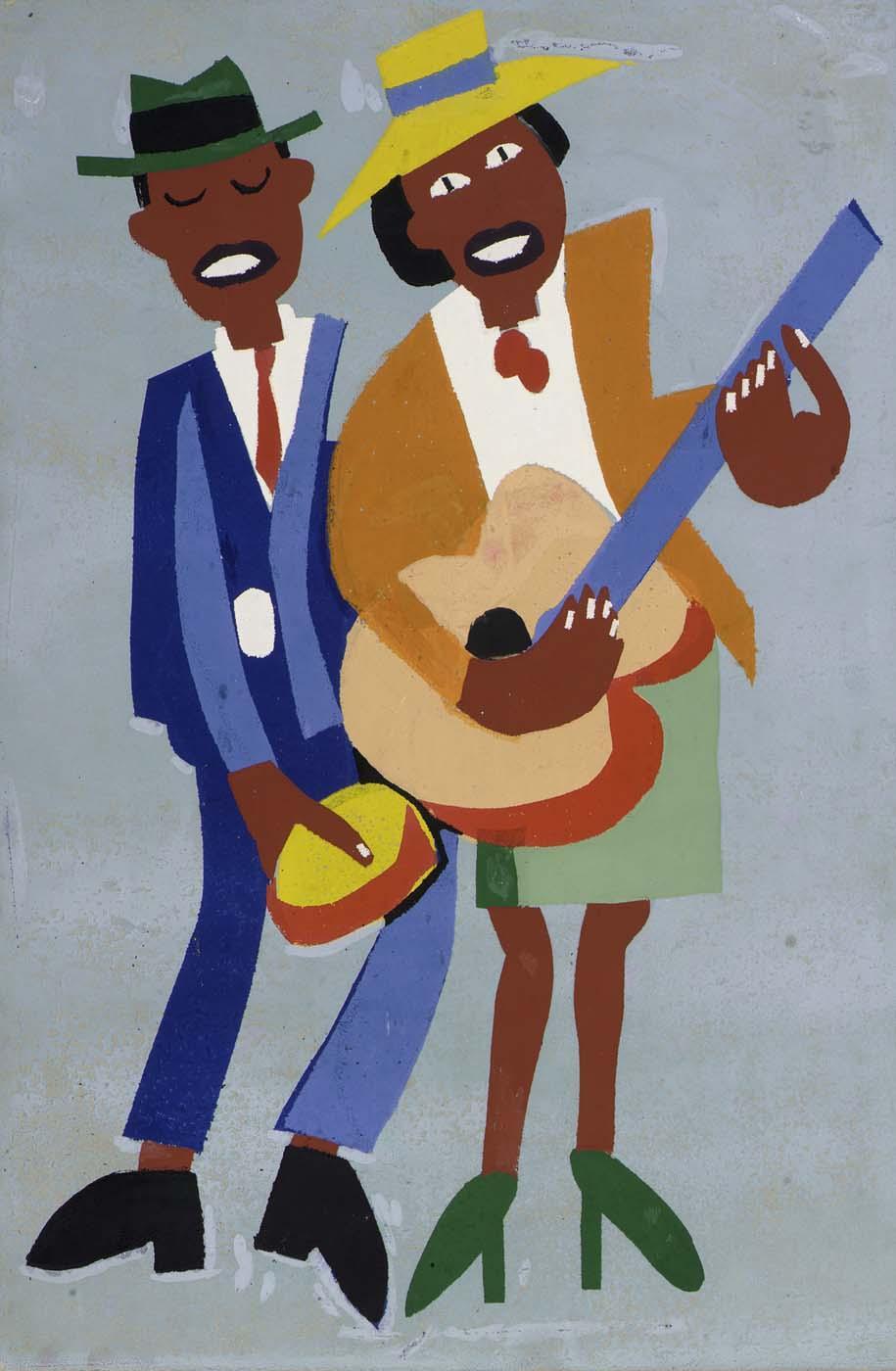 Blind Singer (Street Musicians) - William H. Johnson