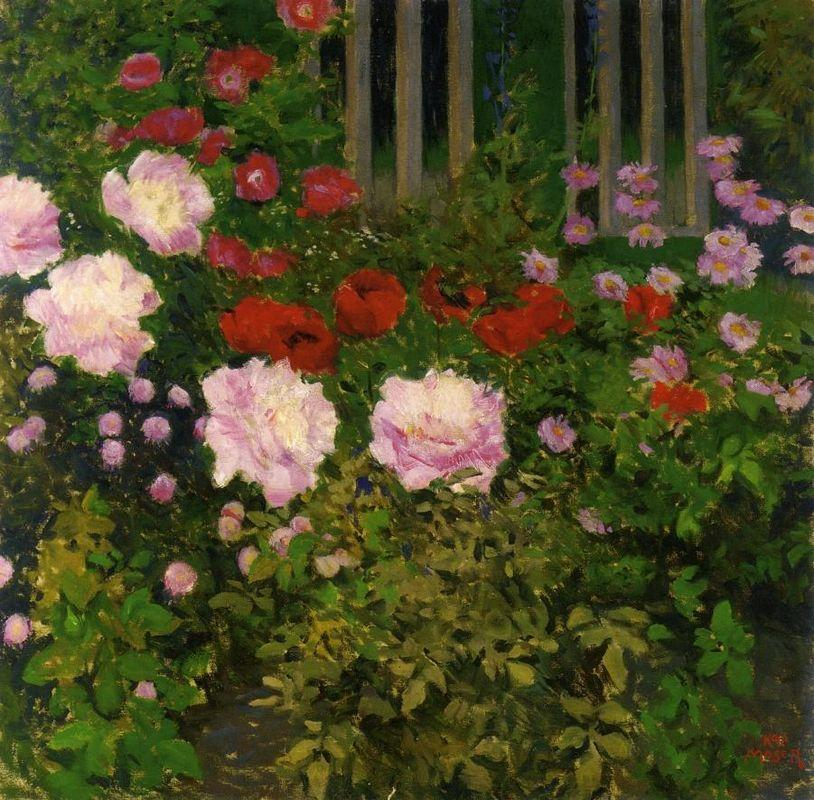Blooming Flowers with Garden Fence - Koloman Moser