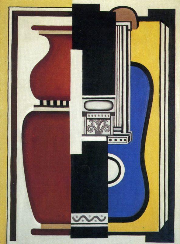 Blue guitar and vase - Fernand Leger