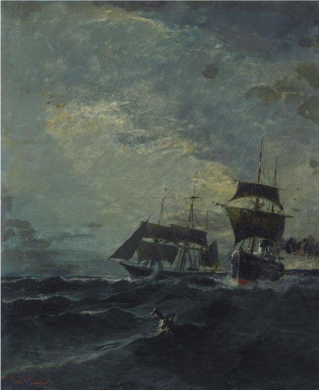 Boats at the sea - Konstantinos Volanakis