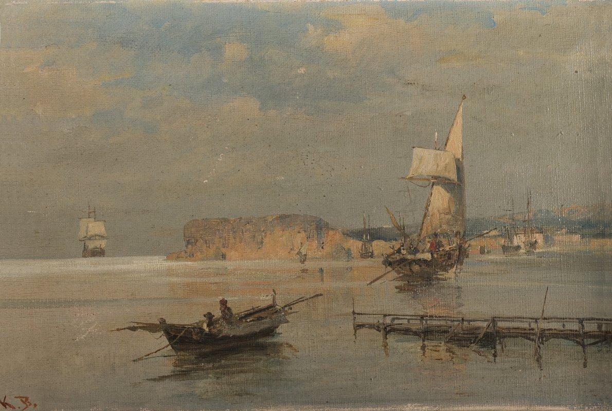 Boats in a port - Konstantinos Volanakis