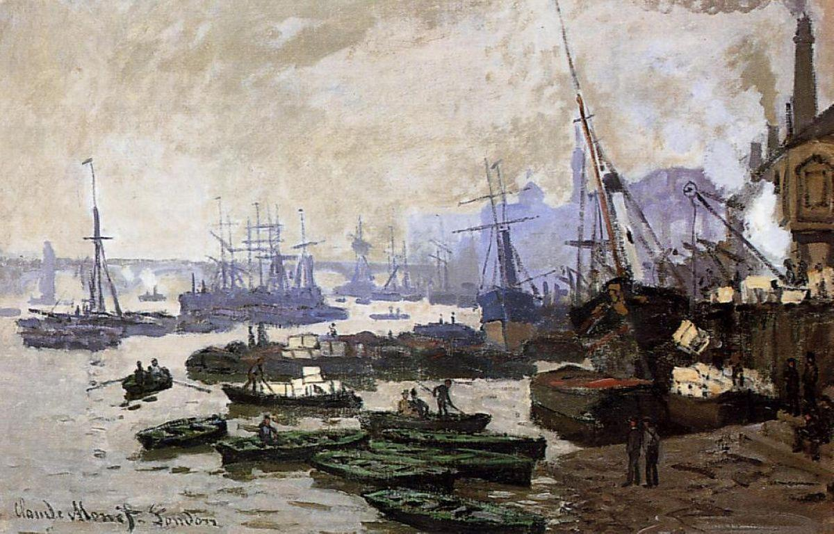 Boats in the Pool of London - Claude Monet