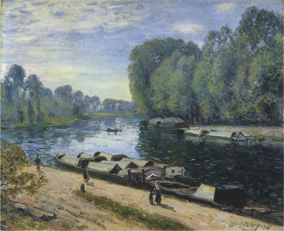 Boats on the Loing River - Alfred Sisley
