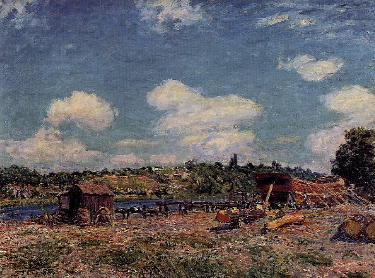 Boatyard at Saint Mammes - Alfred Sisley