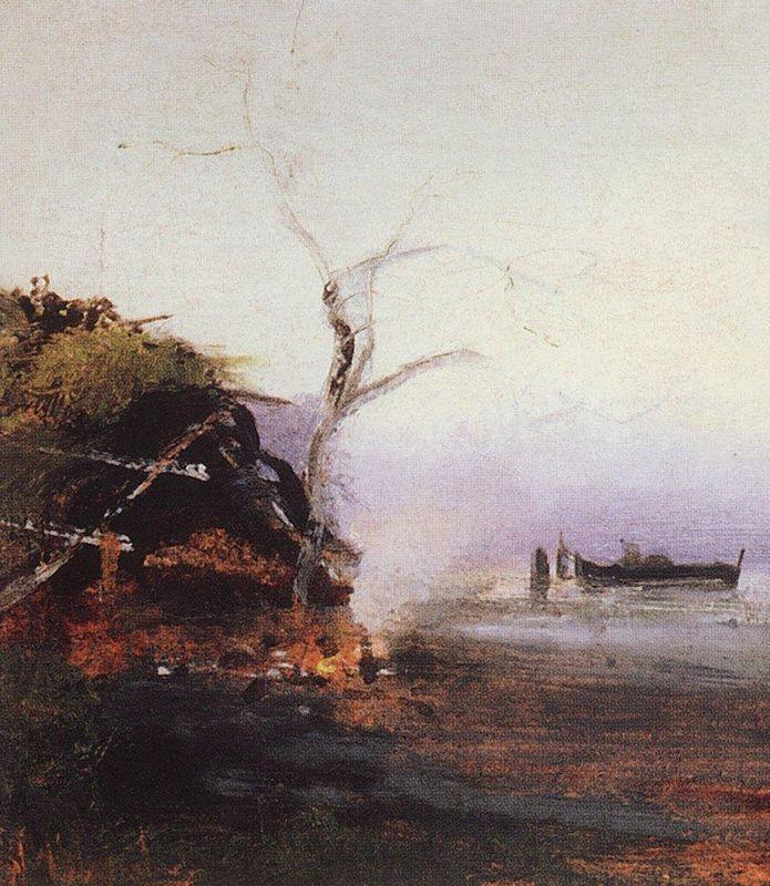 Bonfire of the river - Aleksey Savrasov