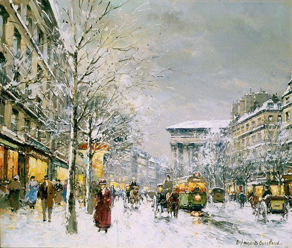 Boulevard de la Madeleine, Sous la Neige - Antoine Blanchard