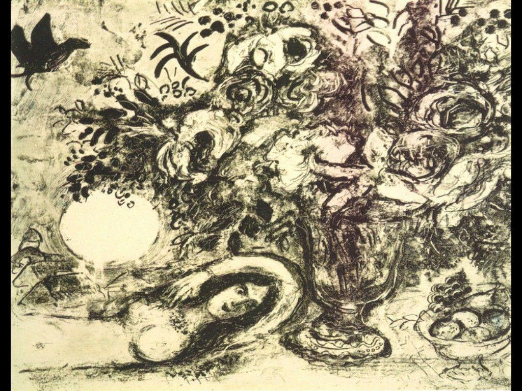 Bouquet and full moon - Marc Chagall