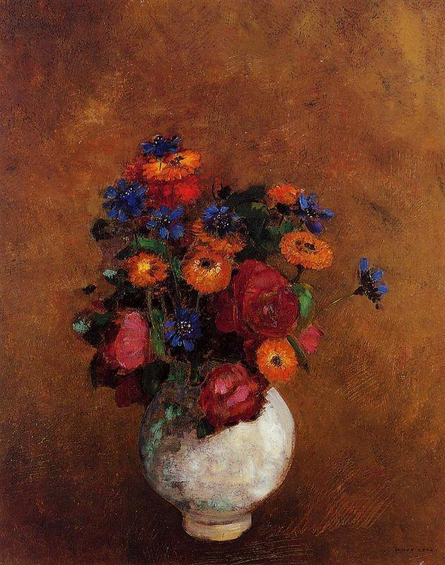Bouquet of Flowers in a White Vase - Odilon Redon
