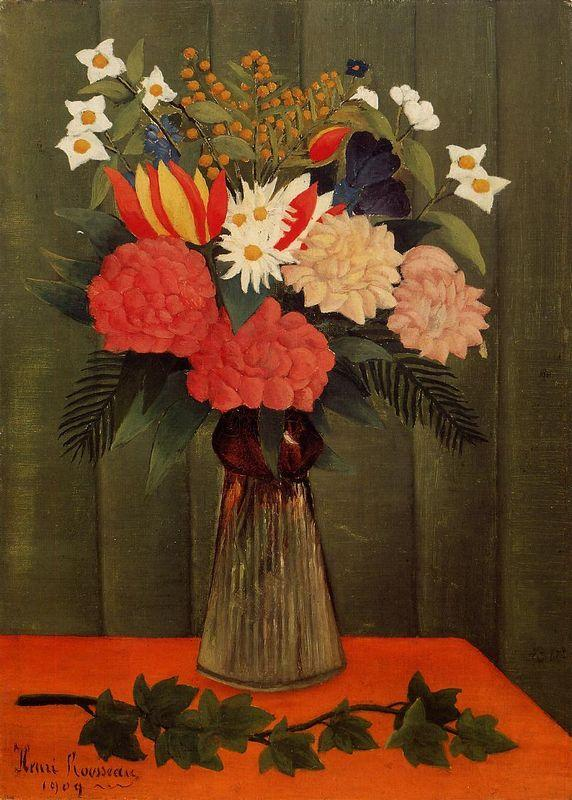 Bouquet of Flowers with an Ivy Branch - Henri Rousseau