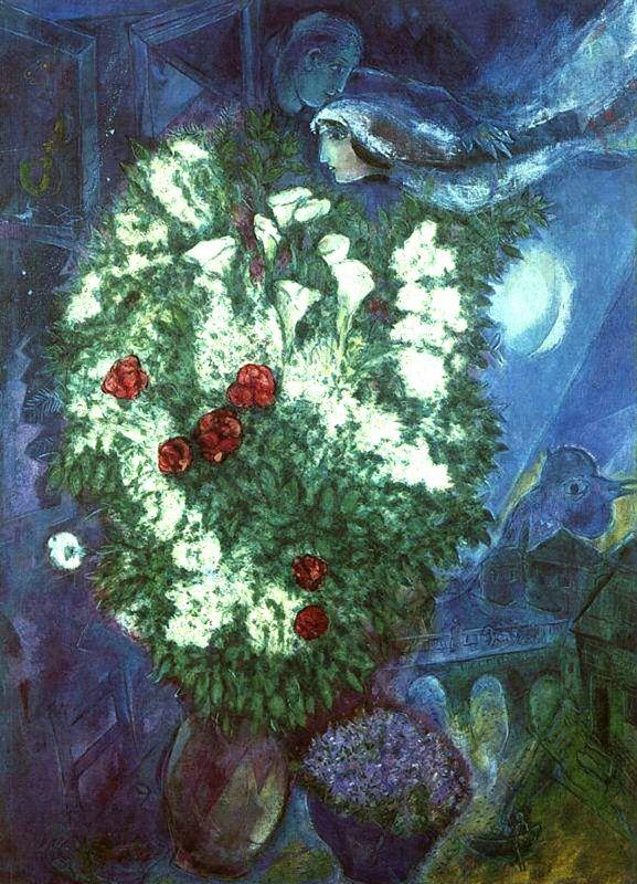 Bouquet with flying lovers - Marc Chagall