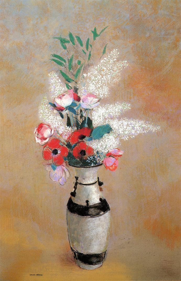 Bouquet with White Lilies in a Japanese Vase - Odilon Redon