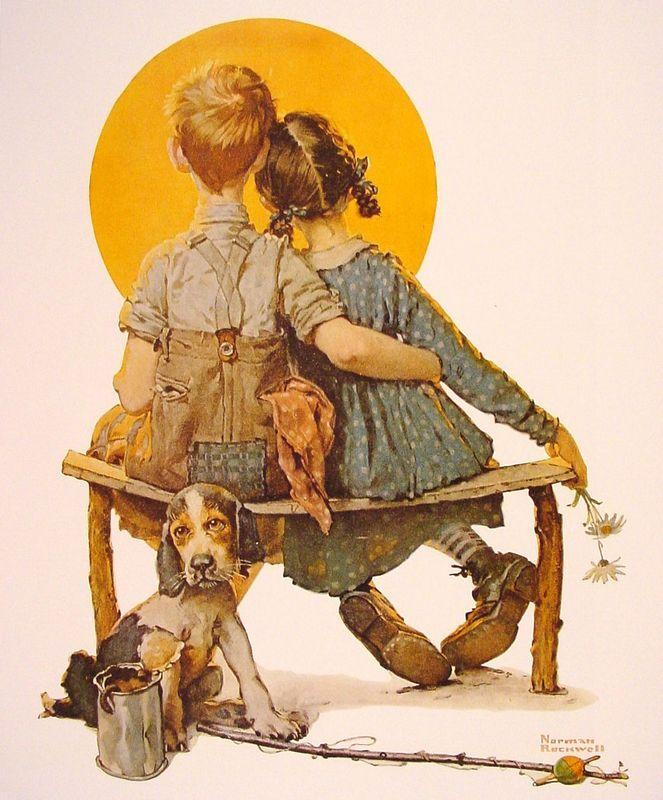 Boy and Girl gazing at the Moon - Norman Rockwell