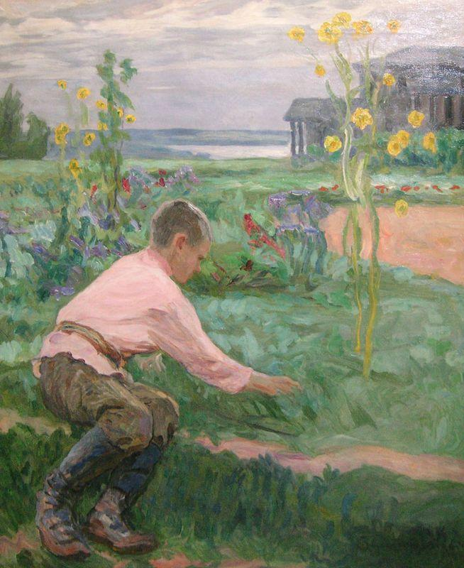 Boy on a Grass - Nikolay Bogdanov-Belsky